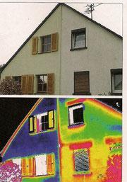 Bild: dbu; Im Vergleich: Die gedämmte Fassade (links) mit deutlich weniger Wärmeverlust. Rechts sind Wärmebrücken deutlich sichtbar.