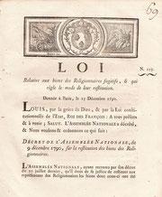 Loi resitution des biens des Religionnaires fugitifs (Paris, 1790) / © Sammlung PRISARD