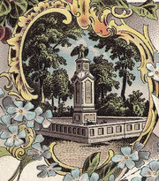 Husarendenkmal auf einer Ansichtskarte um 1900