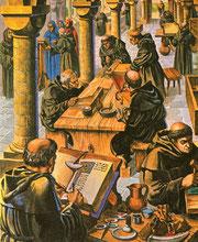 Représentation d'un scriptorium : on y voit un copiste, un moine posant une couverture...