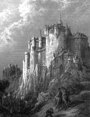 Gravure représentant Camelot, de Gustave Doré