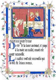 Page de garde du Roman du Graal de Chrétien de Troyes (enluminure)