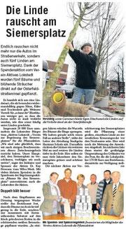 Das Niendorfer Wochenblatt berichtet über die Begrünung des Siemersplatzes