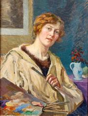 Mary Piriou, Autoportrait, 1916, huile sur toile, collection musée des beaux-arts de Brest métropole.