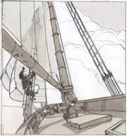 """Bruno Le Floc'h, extrait du storyboard de """"L'Île de Black Mòr"""" / © Bruno Le Floc'h"""