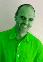 Steve Hartley tinted green all over.