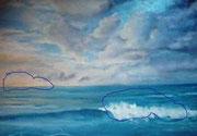 Wolken-Himmel,Grosse Welle im Vordergrund