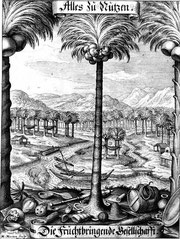 Die Fruchtbringende Gesellschaft – eine Sprachnormautorität. Kupferstich von Matthäus Merian.