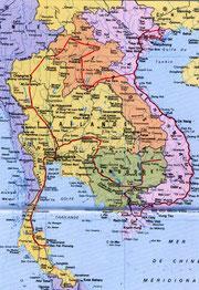 Itinéraire de voyage en rouge (cliquer pour agrandir)