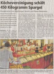 Köchevereinigung schält 450kg Spargel  Kooperation von Marburger Verein und REWE-Naumann