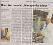 """12.06.2009  Oberhessische Presse - Präsident Horst Wetterau ist """"GV-Manager des Jahres"""""""