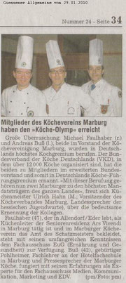 """29.01.2010 Mitglieder des Köchevereins Marburg haben den """"Köche-Olymp"""" erreicht  Andreas Buß und Michael Faulhaber in Deutschlands höchstes Kochgremium berufen"""