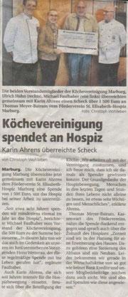 08.05.2010  Köchevereinigung spendet an Sterbehospiz