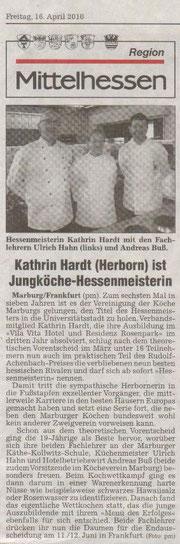 16.04.2010  Kathrin Hardt (Herborn) ist Jungköche-Hessenmeisterin  Giessener Allgemeine vom 16.04.2010