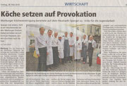 28.05.2010  Köche setzen auf Provokation  Marburger Köchevereinigung bereitete Spargel auf ungewöhnliche Arten zu