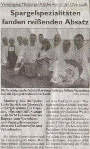 Spargelspezialitäten fanden reißenden Absatz  Vereinigung der Köche Marburgs e.V. war in der Oberstadt