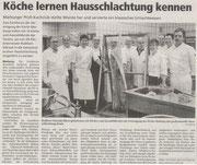 12.03.2010 Oberhessische Presse - Fachforum Hausschlachtung: Köche lernen von Alt-Fleischermeister Rudibert Schraub