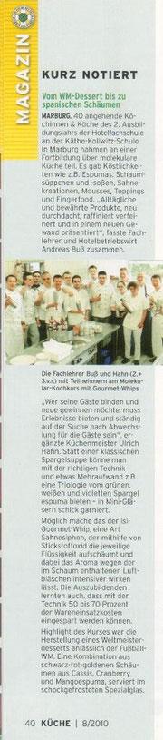 """Verbandzeitschrift """"Küche"""":  Vom WM-Dessert bis zu spanischen Schäumen"""