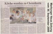 30.09.2009 Marburger Neue Zeitung - Köche werden zu Chemikern