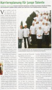 """12.03.2010  Nachwuchsförderung: Jugendcamp-Karriereplanung für junge Talente  Fachzeitschrift """"Küche"""" vom VKD (Verband der Köche Deutschlands e.V.)"""