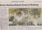 04.12.2009 Oberhessische Presse Hannes Arendholz - Bester Nachwuchskoch lernte in Marburg...