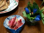 ミョウガの甘酢漬けとリンドウ