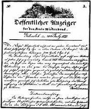 """Carl Bertelsmanns """"Öffentlicher Anzeiger"""" 1833"""