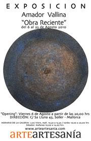 """Amador Vallina: Exposición """"Obra Reciente"""", ArteArtesanía, Sóller"""