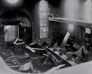 Zerstörter Innenraum der Hechinger Synagoge 1938, Foto: www.foto-keidel.de - Aus: Manuel Werner: Die Juden in Hechingen als religiöse Gemeinde, ZHG 21/1985