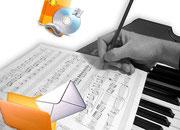 Spartito manoscritto su tastiera