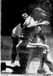 Larry Bowa tags out Dave Winfield trying to steal.