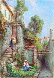 Szene aus dem Dorfleben, vermutlich Gandria