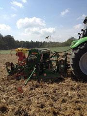 Saat einer Gründüngung .2 Drill-maschinen können gleichzeitig div.Saatgut ausbringen.