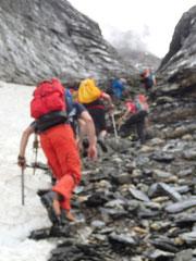 Aufstieg zur Dossenhütte unterhalb der Leitern