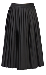 Warehouse faux leather pleated midi skirt