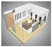 Пример размещения  материалов коррекции акустики помещения