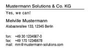 PC/GEOS Office-Assistenten-Vorlage Geschäftliche Visitenkarte, einfach