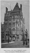 The 1888 home of King Edward VI High School for Girls at the former (but newly built, 1885) Liberal Club in Congreve Street. Scanned from Robert K Dent 1894 The Making of Birmingham. Uploaded to English Wikipedia by Oosoom - image in the public domain.