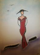Dame in rot, 2017, Mischtechnik mit Glassplitter auf Leinwand, BxH 50x70 cm