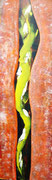 Schlange steigend, 2017, Acryl auf Hartfaserplatte, BxH 32x112 cm