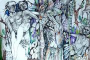 Daphne flieht_altes Thema, neu gezeichnet_2015_70x100