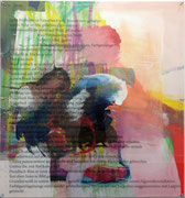 01, 2012, Öl, Grundierweiß, Screen Wash auf Leinwand, Acrylglas, 120 x 100 cm