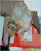o.T., 2012, Öl, Kugelschreiber, Papier auf Leinwand, 100 x 80 cm
