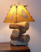 Lampe bois flotté / Abat jour thème la mer - 60 €                 E