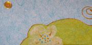 Sur un air de liberty MIROIR ''fleur turquoise''  - 50 €