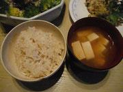 たか黍、粟入り三分づき米 豆腐味噌汁