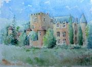 """""""Château d'Allemagne-en-Provence"""", aquarelle sur papier"""