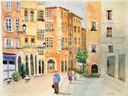 """""""Lyon, rue St Jean"""", aquarelle sur papier"""