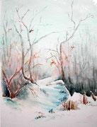 """""""Sous la neige"""", aquarelle sur toile"""