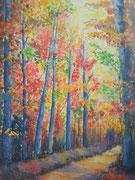 """""""L'automne"""", aquarelle sur toile"""